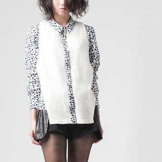 [Shirt] fake two dotted stitching shirt - blue dot on white