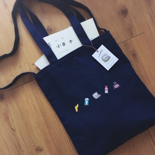 [Littdlework] stationery-controlled Japanese embroidered canvas bag