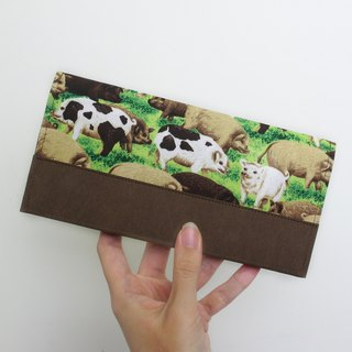 My pig friend American cloth washed kraft paper clip | long clip wallet
