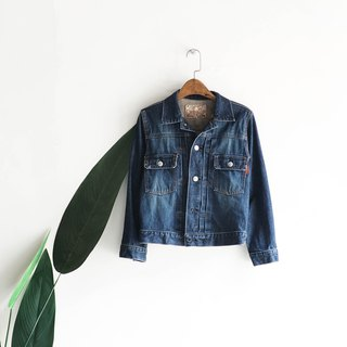 Kumamoto blue water color line short version fallen girl antique cotton denim shirt jacket coat vintage