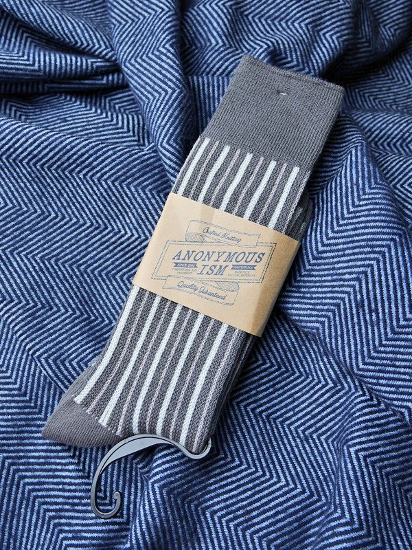 22ee7fb0aaab [Picks] Anonymous Ism gentleman tricolor striped socks Nippon general  thickness cotton socks models