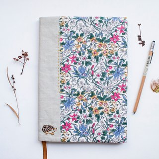 The English Garden Liberty Print - adjustable A5 bookcover