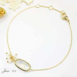 Edith & Jaz•Birthstone with Pearl Collection-White Opal Quartz(Jun) Bracelet