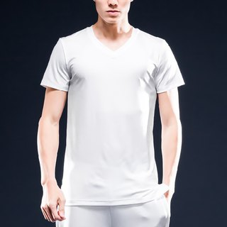 AquaTouch InstaDRY Men's 1/4 Sleeve Low Neck Slim Fit V-neck T-Shirt - White