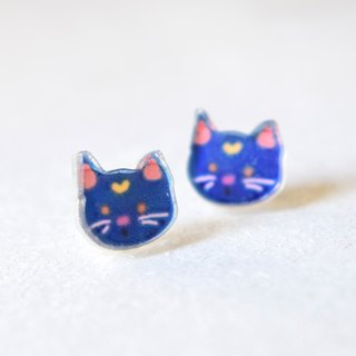 Blue Cat Studs - Kitty Earrings - Little Earrings - Cute Earrings