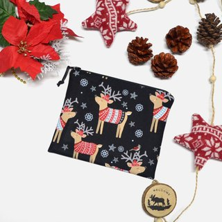 Delightful reindeer sweaters Small Zippered Bag / Catch All Bag stores charger cords/ cosmetic bag / Zippered Pouch / Small Pouch / coin purse / storage pouch / earphone holder / bag tidy