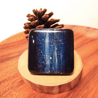 Cosmic painting jewelry / custom wood at the end
