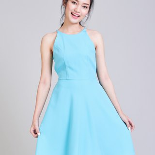 Pastel Blue Dress Party Dress Backless Dress Crisscross Back Evening Gown