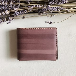Leather short clip │ handmade wallet │ plant tannery │ raspberry color