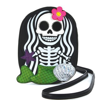 Sleepyville Critters - Skeleton Mermaid Crossbody Bag