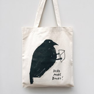 Read more books! crow tote bag