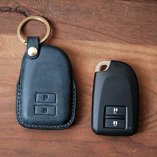Car key holster handmade British horse leather with bronzing small leather key ring gift