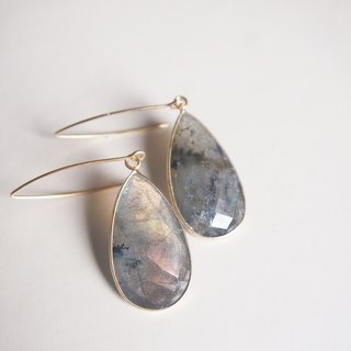 Free postage : Dangle Labradorite Earrings | 18K Yellow Gold Plated