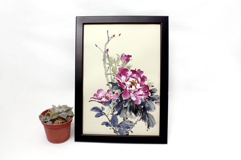Hand-painted paintings, peony Chinese painting ornaments (with picture frame)