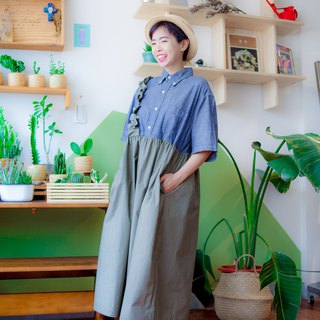 Daning Ocean Wave remake Dark Green Shirt Dress