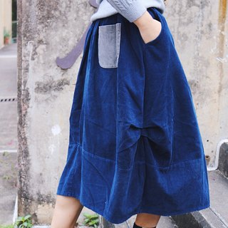 Dark blue / Corduroy maxi dress