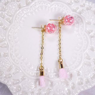 A Handmade pink crystal ball earrings with tassels
