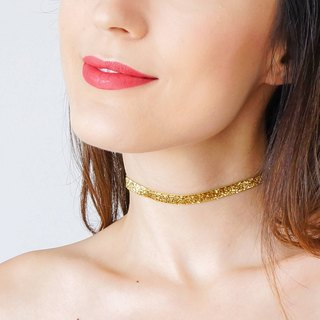 GOLD Choker Silver Choker Girlfriend Gift Gold Ribbon Choker Necklace Gold Necklace Silver Necklace / PONSA