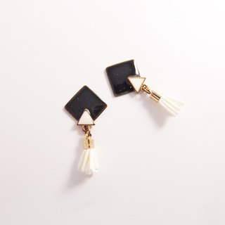 geometry. Clip-on earrings, stainless steel, silicone earrings [tassel black and white]