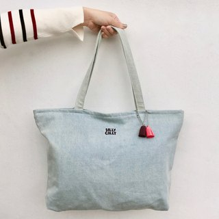 Simple light blue denim denim large shoulder bag A4/double cloth/inner bag/zipper/large capacity