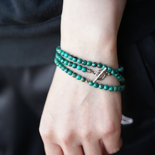 Silicone malachite multi-ring bracelet out of trauma, original Zambia natural phoenix stone s925 pure Thai silver