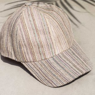 Woven cotton and linen hat cap knit hat fisherman hat visor manual sports cap - red stripes