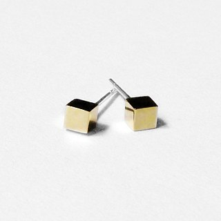 Crazy Geometry | 4mm Glossy Brass (Medium) Cube Square Squares Sterling Silver Earrings (Single Side)