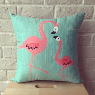 Zoo friends / flamingo-sided peace of paragraph lunch / 38cm x 38cm medium-sized pillow