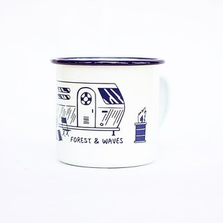 Forest & Waves enamel cup / ocean blue