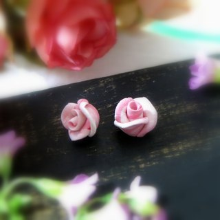 Rose Garden - Pink Rose Earrings Ear Pins or Ear Clips Gift for Her / Handmade E