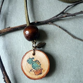 Hand-painted necklace / pendant (cactus)