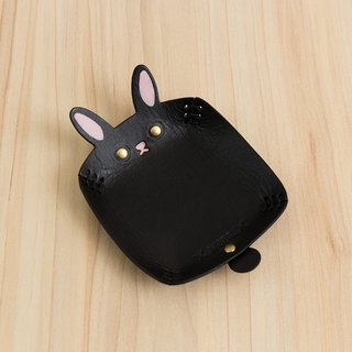 Animal Series - Hand-painted leather small cap / jewelry storage / (black rabbit)