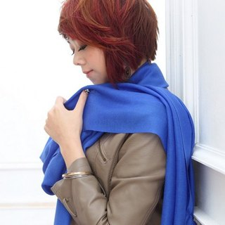 [Fashion Cute] plain silk wool shawl / scarf blue