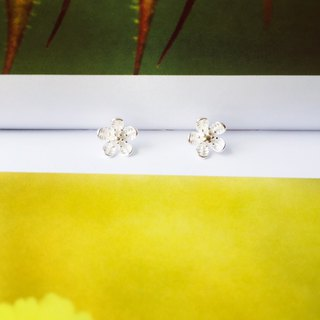 925 sterling silver temperament cute [flower series hibiscus sunflower ear needle]