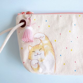 playful cat - pencil pouch / hand paint