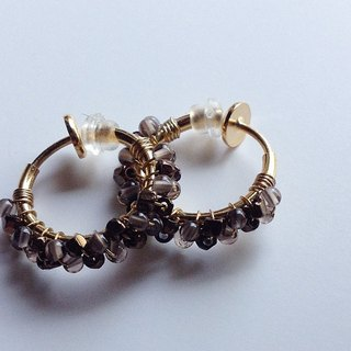 Smoky Quartz + Antique Beads Hoop Earrings耳夾