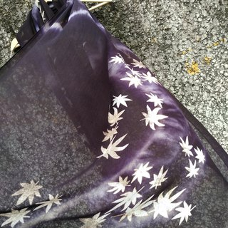 Free dye isvara, grass dyed, Daisy purple Cotton Shawl, Maple Leaf series Februa