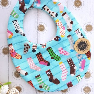 Fun Socks-Blue-October 100% cotton double-sided egg bib