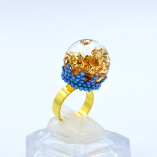 TIMBEE LO Gold Foil Glass Ball Ring Swarovski Symphony Crystal Decoration Design Magic Ball