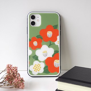 Back glass type soft phone case - Japanese modern camellia -
