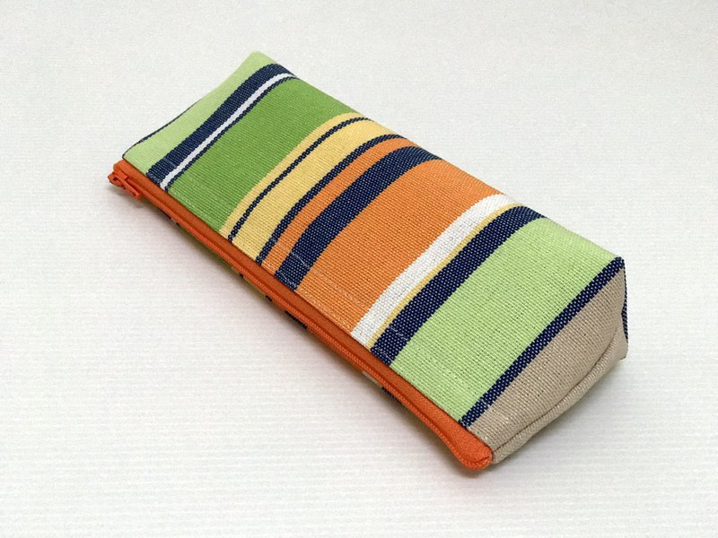 Casual-life hand made striped fashion canvas pencil case