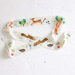 Animals Long Silk Scarf / Green Headband I Story_Forest Daily