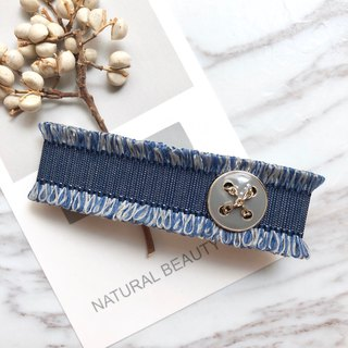 Minimalist small fragrant French clip / blue denim