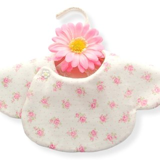 Reversible Scalloped Girl Bib - Pink Floral / Smoky Solid Pink