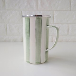 Vine green striped 珐琅 mug | 650ml