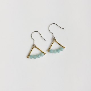 Mint candy natural stone brass earrings