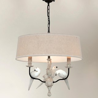 Country wind bird decoration cloth shade chandelier