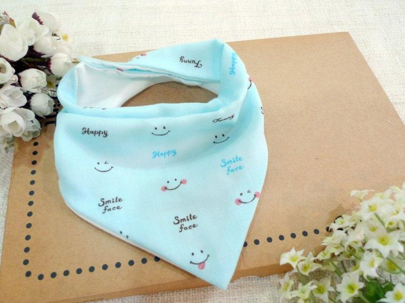 三角口水巾/圍兜-微笑小臉(藍)
