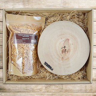 Alder wood pot + wood shavings gift box (coaster x3, sawdust x1) - wood chips optional wood species