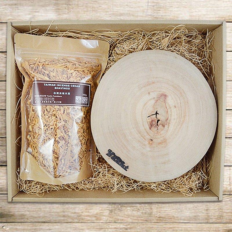 樟木鍋墊+木屑刨花禮盒(鍋墊x3,木屑x1)-木屑可選木種